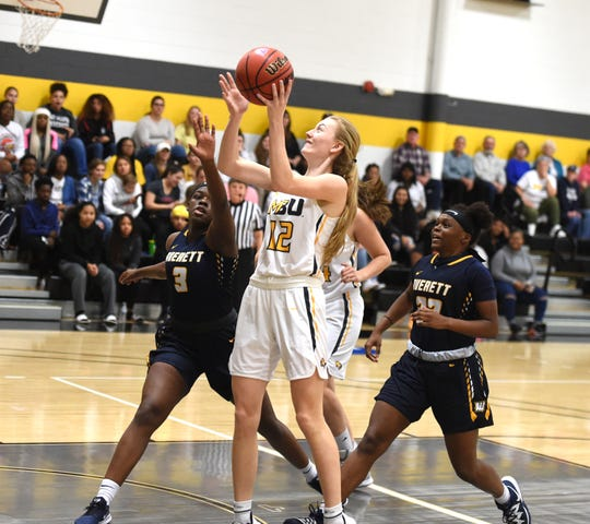 Hannah Varner had a team-high 14 points in Mary Baldwin's loss Wednesday night, January 15.