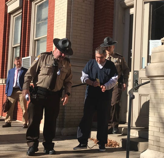 Kristofer Losh, 45, of Stuarts Draft, is led away from the Augusta County Courthouse after being sentenced to 25 years in prison Thursday, Jan. 16, 2020.