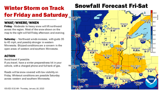 A winter storm is on track to bring snow and high winds to Central Minnesota on Friday and Saturday.