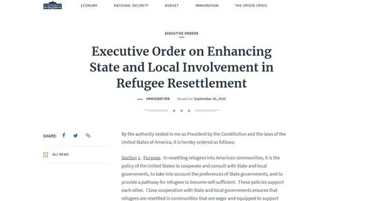 President Donald Trump signed an executive order on Sept. 26, 2019, that would allow states, counties and cities to block the settlement of refugees. A judge blocked the order on Jan. 15, 2020, saying its unlikely to prevail in court.