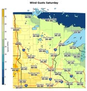 Wind gusts could reach speeds of 35-40 mph Saturday in Central Minnesota.