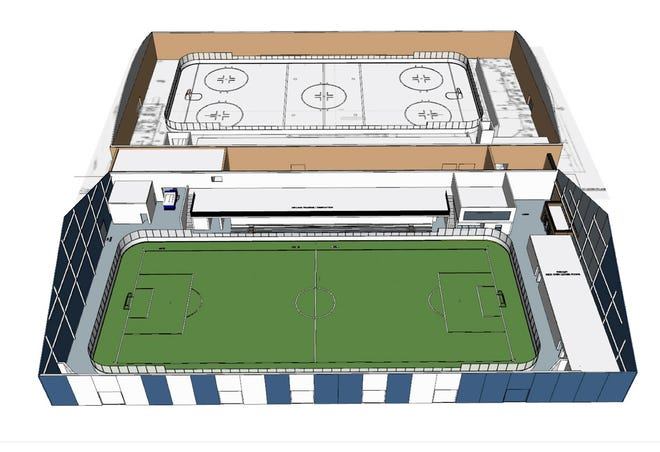Plans for the second enclosed rink next to Bernick's Arena, bottom, include the ability to install turf, shown in this rendering from Jan. 9, 2020.
