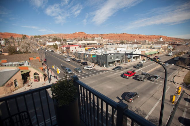 Downtown St. George is photographed from The Advenire, a hotel located at the corner of St. George Blvd. and Main St.
