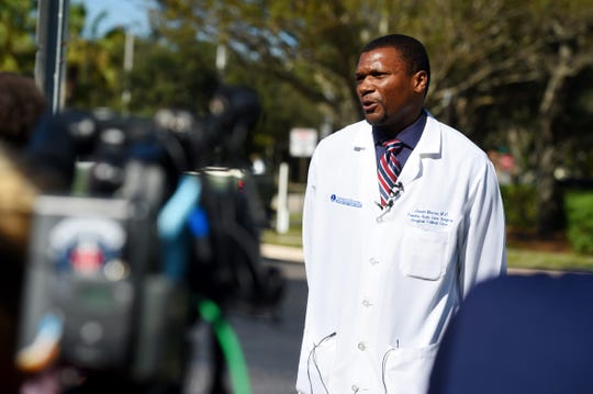 Dr. Jason Moore, a surgeon at Lawnwood Regional Medical Center & Heart Institute in Fort Pierce, gives an update Thursday, Jan. 16, 2020, on the eight patients involved in a car crash on Wednesday at the base of the Merrill P. Barber Bridge in Vero Beach. Six of the eight patients are members of the rowing team at the College of the Holy Cross in Massachusetts. There was one fatality, Grace Rett, of Uxbridge, Massachusetts, who celebrated her 20th birthday the day before the crash.