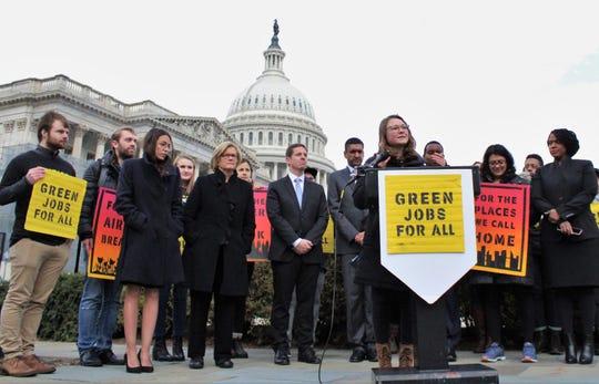South Fork High School graduate Lauren Maunus, at podium, speaks at a Sunrise Movement event in Washington D.C.
