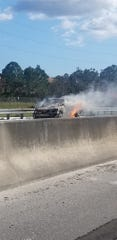 Vehicle fire on Florida Turnpike leaves southbound lanes closed Thursday Jan. 16, 2020 in Martin County