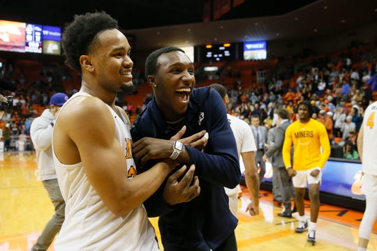 UTEP celebrates their win against UTSA Wednesday, Jan. 15, at the Don Haskins Center in El Paso.