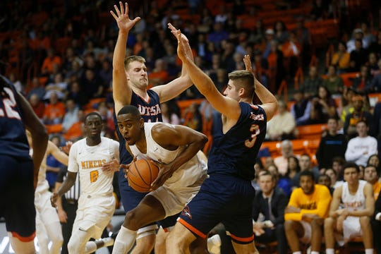 UTEP's Bryson Williams goes against UTSA defense during the game Wednesday, Jan. 15, at the Don Haskins Center in El Paso.