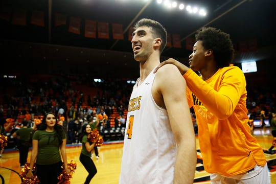 UTEP's Eric Vila celebrates after the win against UTSA Wednesday, Jan. 15, at the Don Haskins Center in El Paso.