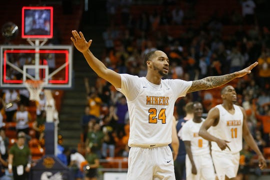 UTEP's Daryl Edwards throws his hands out signaling the game is over after their 80-77 win in overtime against UTSA Wednesday, Jan. 15, at the Don Haskins Center in El Paso.