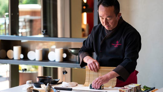 Chef Masa Shimakawa prepares a sushi roll at ONYX at the Four Seasons Hotel Westlake Village.