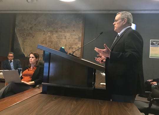 Russ Branson presents a report to the Oxnard City Council on Tuesday concerning three of the five voter initiatives written by Aaron Starr.