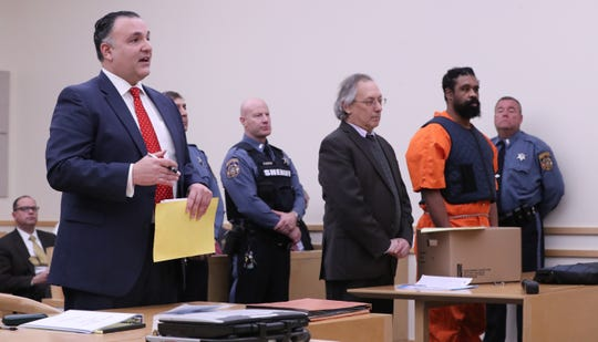 Rockland County First Assistant District Attorney Dominic Crispino, far left, speaks during the arraignment of Grafton Thomas in Rockland County Court in New City Jan. 16, 2020. Thomas was charged with a machete attack on Hanukkah party goers in Monsey.