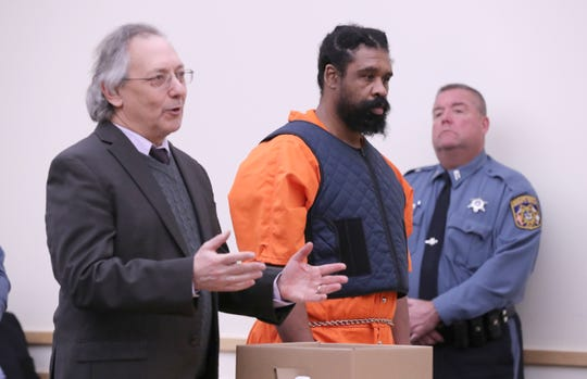 Grafton Thomas, with his attorney Michael Sussman, appears at an arraignment in Rockland County Court in New City Jan. 16, 2020. He was charged with a machete attack on Hanukkah party goers in Monsey.