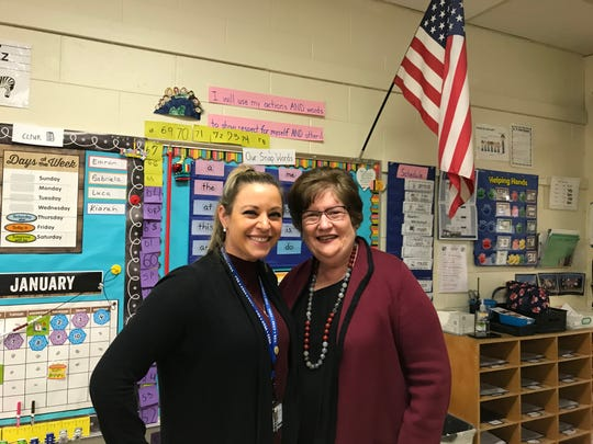 Link Elementary School second-grade teacher Courtney Tully greets her principal, Francine Cuccia, in her classroom on Monday, Jan. 13, 2020. Tully was a kindergartner at the school in 1994 and Cuccia was principal. Cuccia retires at the end of the 2019-2020 school year.