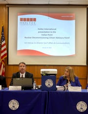 Joe Delmar, senior director for government affairs and communication for Holtec International, speaks at Buchanan Village Hall on Jan.15, 2020. Delmar gave the first public presentation on the company's plans for decommissioning the plant. At right is Buchanan Mayor Theresa Knickerbocker, the chairperson of the advisory panel.