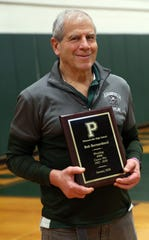 Pleasantville wrestling coach Bob Bernarducci was honored for his 400th victory before the start of the match against Putnam Valley at Pleasantville High School Jan. 15, 2020.