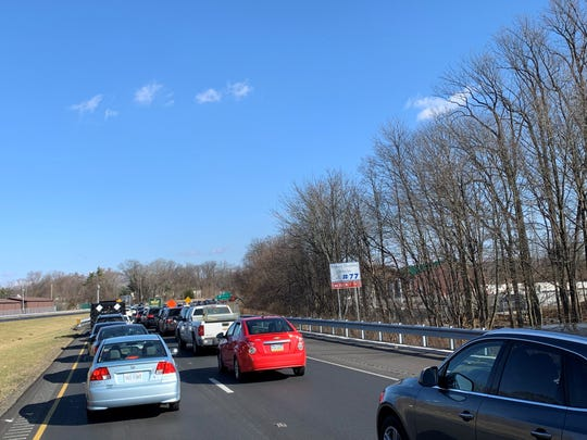 A crash is creating backups on northbound I-95 near Marsh Road.