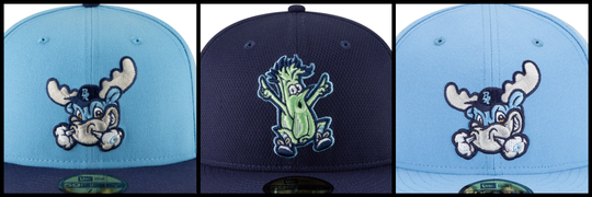 A few of the hats sold by the Blue Rocks during the 2019 season.