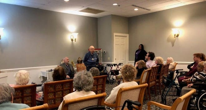 Morris Freschman shares his story of surviving the Holocaust at his residence at Shipley Manor.