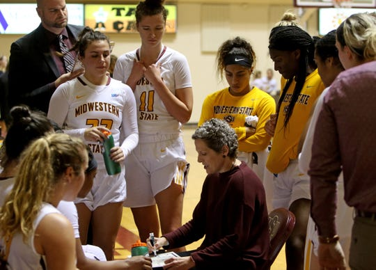 Midwestern State head basketball coach Noel Johnson talks to her players during a timeout against Cameron Wednesday, Jan. 15, 2020, at D.L. Ligon Coliseum.