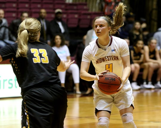 Midwestern State's Mica Schneider looks to the basket against Cameron Wednesday, Jan. 15, 2020, at D.L. Ligon Coliseum.