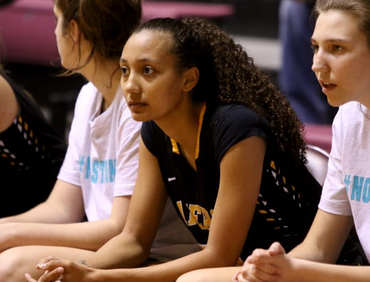 Cameron's Jazmin Luster watches the game against Midwestern State Wednesday, Jan. 15, 2020, at D.L. Ligon Coliseum.