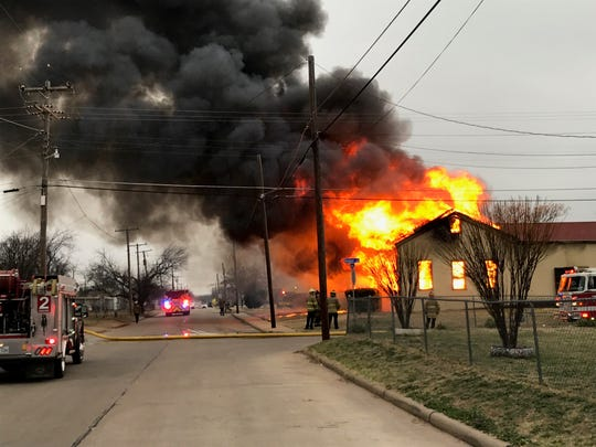 Three-alarm church fire at corner of Amber Avenue and Borton Street Thursday morning.