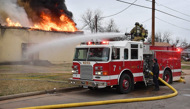 A Wichita Falls Fire Department vehicle is seen Thursdays as firefighters battled a two-alarm blaze at a church at 1400 Borton. The city council will be considering purchase of exhaust-removal units for fire stations 1 and 2 - the only stations in town that do not have the equipment. Exposure to diesel fumes can lead to short-term and long-term health problems.