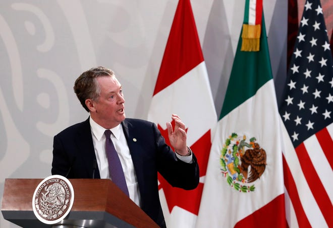 U.S. Trade Representative Robert Lighthizer speaks during an event to sign an update to the North American Free Trade Agreement, at the national palace in Mexico City, Tuesday, Dec. 10. 2019. (AP Photo/Marco Ugarte)