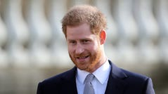 Prince Harry, patron of the Rugby Football League, hosts the Rugby League World Cup 2021 draws for the men's, women's and wheelchair tournaments at Buckingham Palace on Jan. 16, 2020.