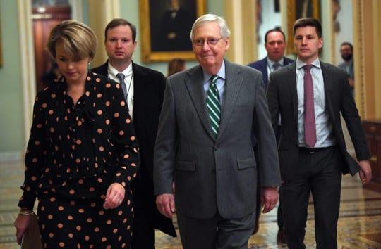 Senate Majority Leader Mitch McConnell, R-Ky., arrives at the Capitol on Jan. 16, where Rep. Adam Schiff, the lead House manager, formally read the articles of impeachment against President Donald Trump.