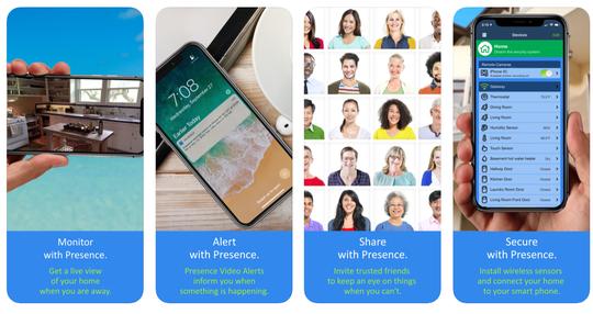 """Puede usar la aplicación Presence by People Power para convertir un iPhone antiguo , iPad o iPod touch en una cámara de videovigilancia gratuita para custodiar su hogar, incluso cuando no esté allí. """"width ="""" 540 """"data-mycapture-src ="""" """"data-mycapture-sm-src = """""""" /> <meta itemprop="""