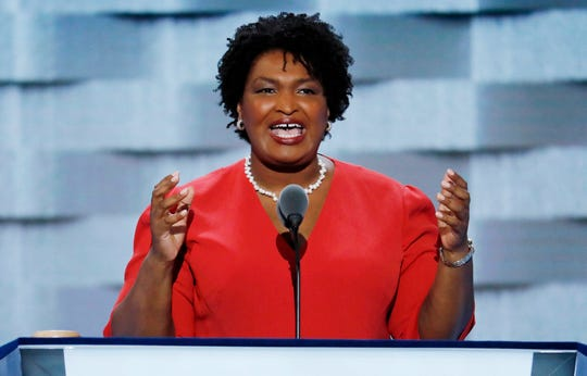 Georgia House Minority Leader Stacey Abrams speaks during the first day of the Democratic National Convention in Philadelphia on July 25, 2016.