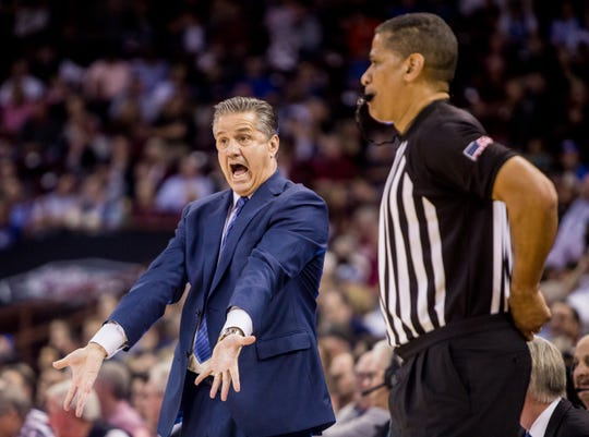 Kentucky Wildcats head coach John Calipari disputes a call against the South Carolina Gamecocks in the first half at Colonial Life Arena in Columbia, S.C.
