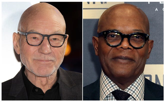 Patrick Stewart, left, and Samuel L. Jackson will be among the readers for a new audiobook about famous American legal cases.