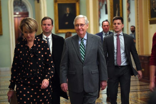 Senate Majority Leader Mitch McConnell arrives at the Capitol in Washington on Jan. 16, 2020. The articles of impeachment against President Donald Trump will be formally read to the Senate by Adam Schiff, lead impeachment manager.