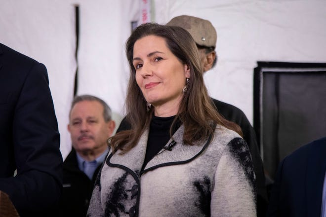 Oakland Mayor Libby Schaaf joins Gov. Gavin Newsom, Assemblymember Rob Bonta and other officials to launch a new plan to tackle the state's homelessness crisis in Oakland, Calif., on Thursday, Jan. 16, 2020.
