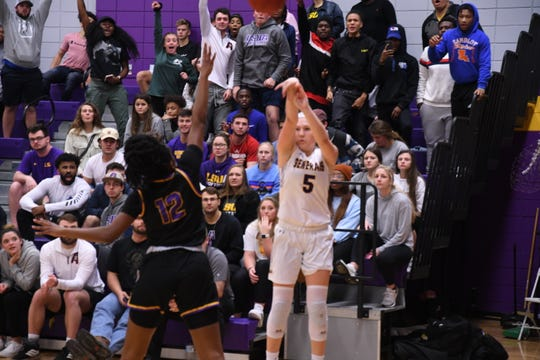LSUA sophomore Kelsey Thaxton hits a 3-pointer during the Generals win against LSUS Thursday.