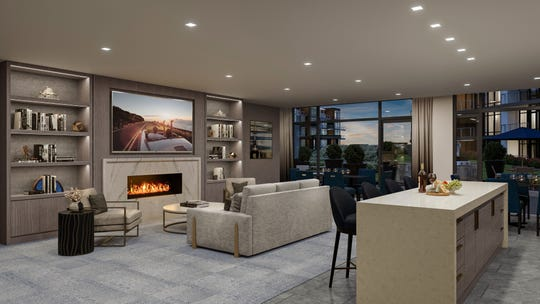 A rendering of the interior of The Lofts Pier Village.