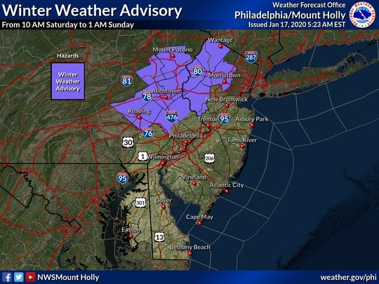 Winter weather advisory forecast for Saturday Jan. 18, 2020.
