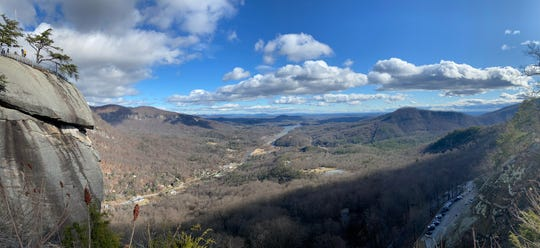 A wintertime view of Hickory Nut Gorge, including Lake Lure, from the top of the Chimney at Chimney Rock State Park.