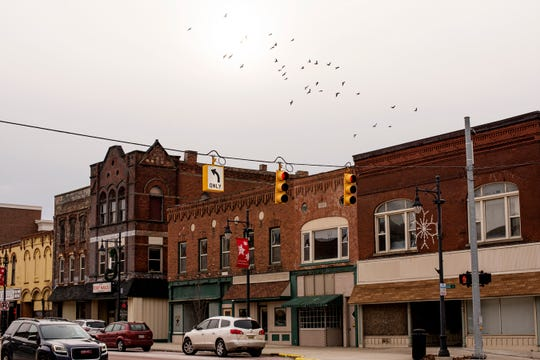 A flock of birds flies over vacant buildings on S. Superior St. in Albion, Mich. on Friday, Jan. 17, 2020. Developers of the Big Albion Plan hope to use local and state tax incentives along with grant money to begin construction in downtown Albion in this fall.