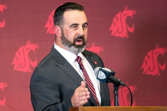 New Washington State football coach Nick Rolovich speaks during a news conference after being officially introduced as the head coach on Thursday, Jan. 16, 2020, in Pullman, Wash.