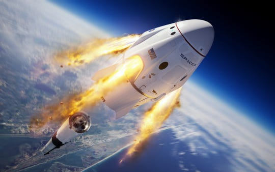 A rendering of SpaceX's Crew Dragon capsule firing its SuperDraco abort engines and pushing away from a Falcon 9 rocket.