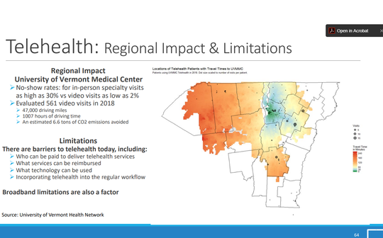 A map of patients who use telehealth services from the University of Vermont Medical Center in Burlington. This map is included in a report from the Rural Health Services Task Force submitted to the Legislature on Jan. 10, 2020.