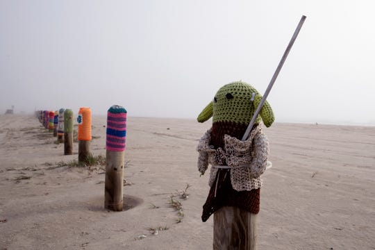 Baby Yoda is a popular addition to Diana Vondra's Bollard Buddies in Port Aransas. Each year some of the creations are stolen, she said she is thankful a few of her favorites have been returned because it is a project for the community from her heart.