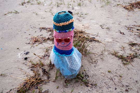 Port Aransas resident Diana Vondra has spent the last four years creating these Bollard Buddies to decorate bollards. She's up to 150 of the colorful creations, which are designed to bring a smile to beachgoers faces.
