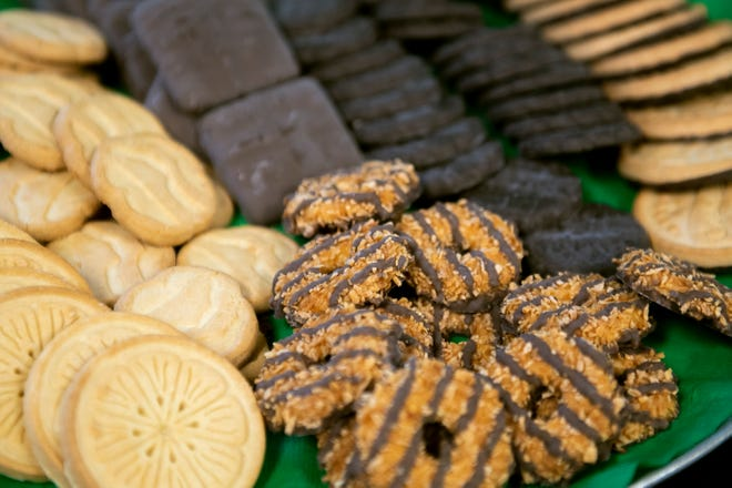 A tray of assorted Girl Scout Cookies. The annual Run for the Cookies is Feb. 8 at TCC.