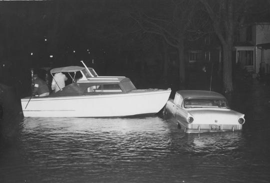 Boats were used to navigate the high waters around town in January 1959. Chillicothe and areas of the state were hit hard by the flooding.
